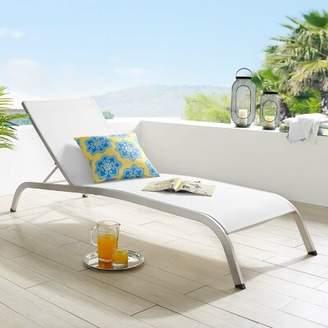 Orren Ellis Priestley Outdoor Reclining Chaise Lounge Orren Ellis Color: White
