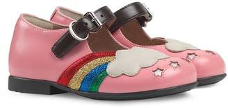 Gucci Kids Toddler leather ballet flat with rainbow