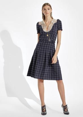 Ralph Lauren Hayes Lace-Collar Silk Dress