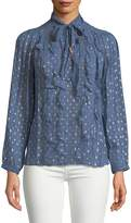 Rebecca Taylor Women's Tie Neck Embellished Ruffled Top