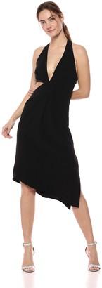 Halston Women's Sleeveless Halter Neck Asymmetric Drape Dress