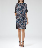 Reiss Ardant Lace-Detail Printed Dress