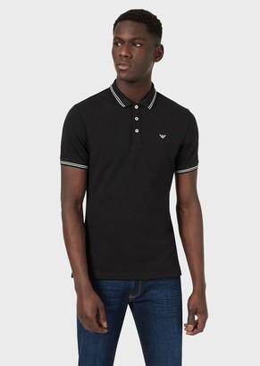 Emporio Armani Cotton Pique Polo Shirt With Contrasting Logo On The Chest