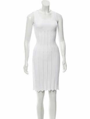 Alaia Sleeveless Sheath Dress White