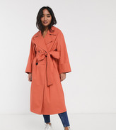 Asos DESIGN Petite double breasted lightweight trench in teracotta