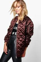 Boohoo Boutique Lily Longline Quilted Satin Bomber