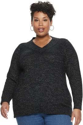 Croft & Barrow Plus Size Soft V-Neck Pullover Sweater