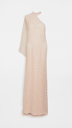 Sandra Mansour Net Asymmetrical Long Dress