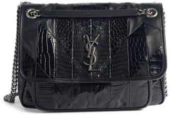 a2282805123 Saint Laurent Black Croc Embossed Leather Handbags - ShopStyle