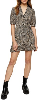 Topshop Leopard Print Wrap Minidress