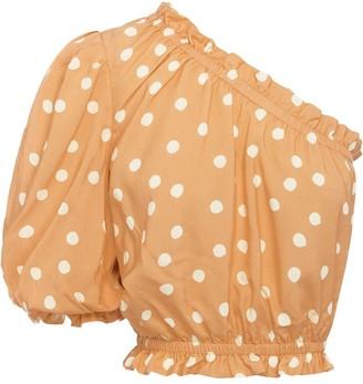 Peony Swimwear Polka Dots Single-Sleeved Cropped Top