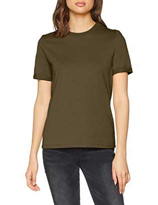 Pieces Women's Pcria Ss Fold Up Solid Tee Noos T-Shirt, Pink Malaga, 12 (Size: Medium)