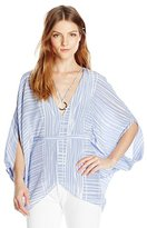 Halston Women's Ss V Neck Kaftan Top W Curved Ring Hw, Value Not Found