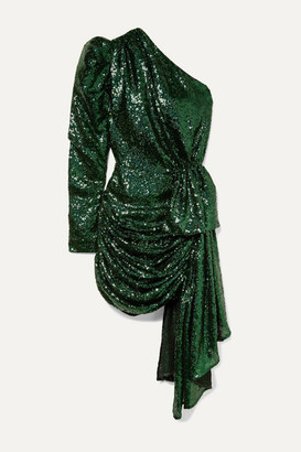 16Arlington One-sleeve Draped Sequined Tulle Mini Dress - Green