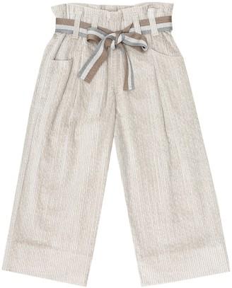 BRUNELLO CUCINELLI KIDS Corduroy paperbag pants