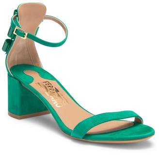 Salvatore Ferragamo Connie Suede Block Heel Sandal
