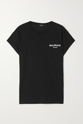 Balmain Flocked Cotton-jersey T-shirt - Black