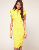 Dress with Deep V Neck and Frill Sleeves