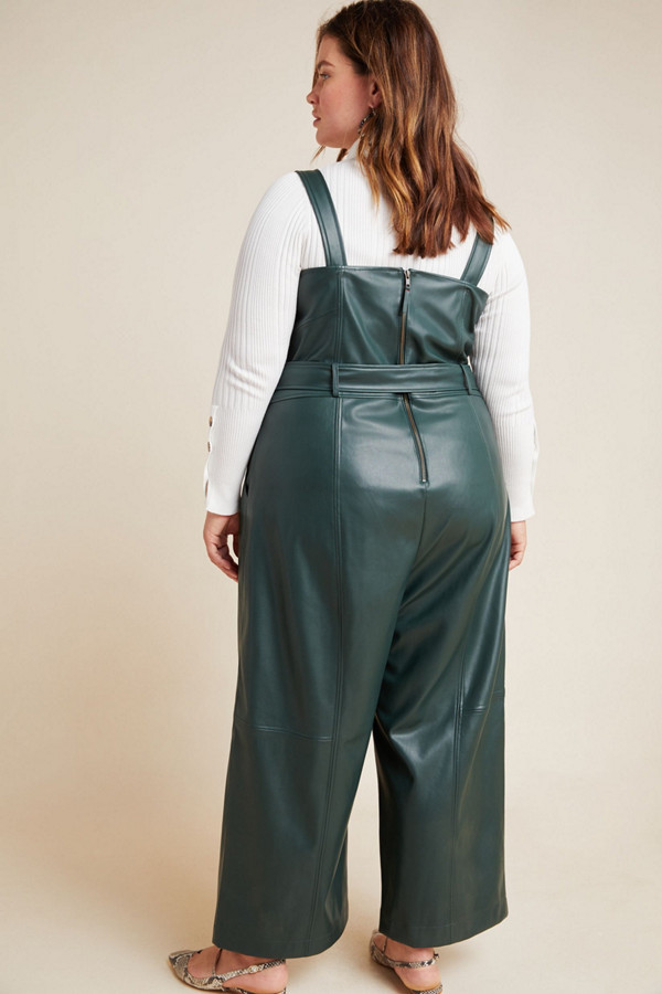 BNWT ANTHROPOLOGIE SZ 8R 6R  10P  SAMIRA FAUX LEATHER JUMPSUIT BELTED GREEN HTF