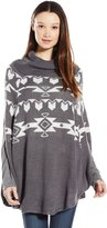 Derek Heart Junior's Aztec Jacquard Cowl Neck Poncho Sweater