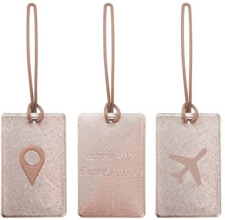 Mytagalongs MY TAGALONGS ODYSSEY SET OF 3 LUGGAGE TAGS - ROSE GOLD