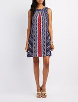 Charlotte Russe Border Print Trapeze Shift Dress