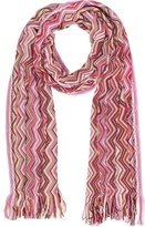 Missoni Pink Zig Zag Wool Blend and Lurex Women's Long Scarf