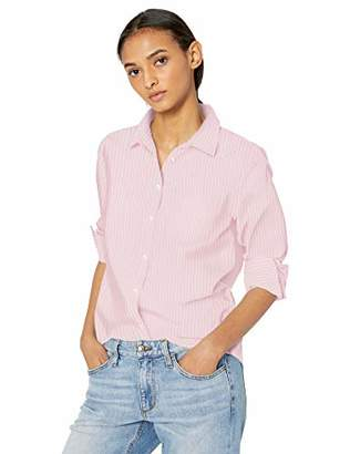 Amazon Essentials Long-Sleeve Patterned Shirt Button,US L (EU L - XL)