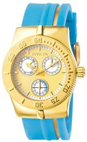Invicta Women's 5917 Lady Wildflower Collection Gold-Tone Stainless Steel Light Blue Watch