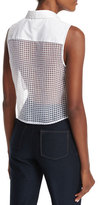 KENDALL + KYLIE Sleeveless Lace-Back Crop Top, White