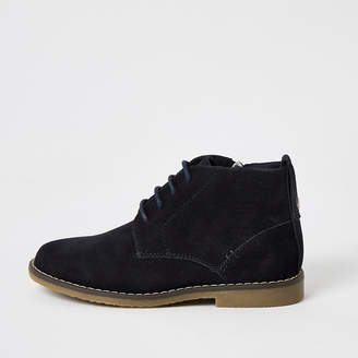 River Island Boys navy lace-up desert boots