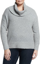 MICHAEL Michael Kors Cowl-Neck Wool-Blend Sweater, Pearl Heather, Plus Size