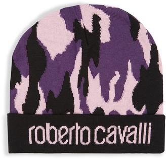 Roberto Cavalli Camo Print Logo Cuff Beanie