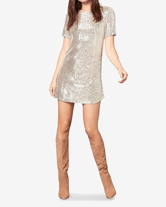 Express Bb Dakota Short Sleeve Sequin Mini Dress