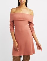 Charlotte Russe Waffle Knit Off-The-Shoulder Swing Dress