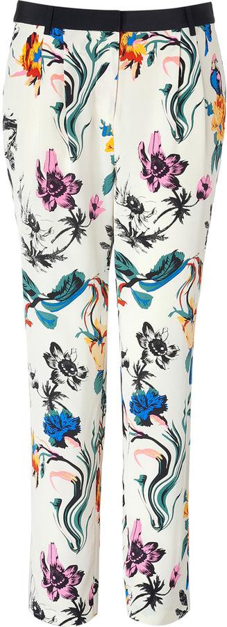 Tibi Cream Chinoiserie Wallpaper Print Silk Pants