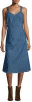 ADAM by Adam Lippes Sleeveless Denim A-Line Dress, Blue Indigo