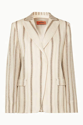 Missoni Striped Metallic Crochet-knit Blazer - Ivory