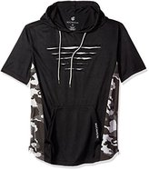 Rocawear Men's Short Sleeve Full-Over Hoody with Zipper Trim and Contrast Color Side Trim