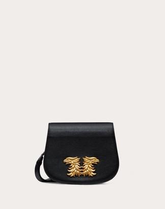Valentino Buffalo Leather Saddle Bag With Griffin Accessory Women Black Buffalo Leather 100% OneSize