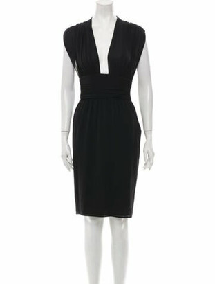 Celine Silk Knee-Length Dress Black