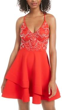 B. Darlin Juniors' Strappy Embellished A-Line Dress, Created for Macy's