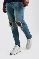 boohoo Mens Blue Big And Tall Rigid Skinny Jean With Chain, Blue