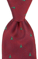 Roundtree & Yorke Trademark Christmas Tree Repeating Print Traditional Silk Tie