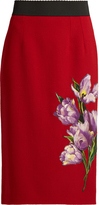 Dolce & Gabbana Tulip-appliqué stretch-wool pencil skirt