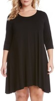 Karen Kane Plus Size Women's 'Maggie' Three Quarter Sleeve Trapeze Dress