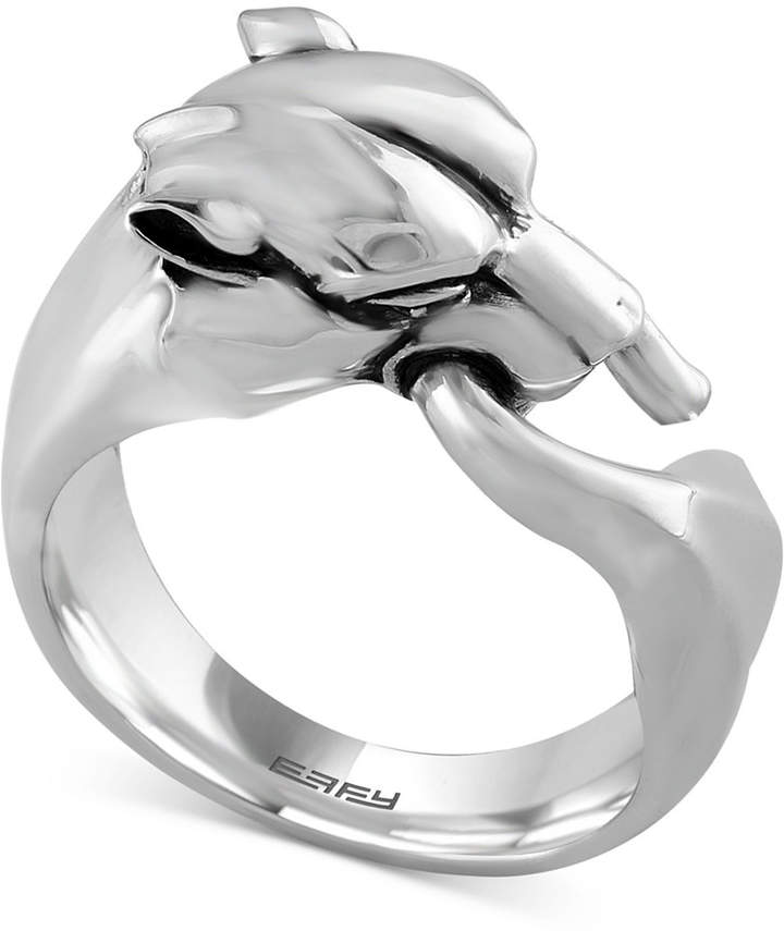Effy Gento by Men's Panther Head Ring in Sterling Silver