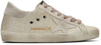 Golden Goose SSENSE Exclusive Silver and White Glitter Superstar Sneakers