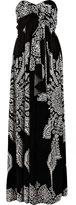 Black print bandeau maxi dress