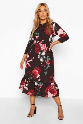 boohoo Plus Floral Ruffle Hem Midi Dress
